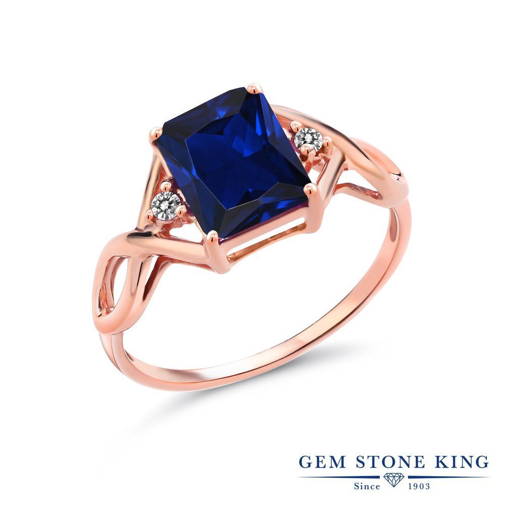 2.73カラット 合成サファイア 指輪 レディース リング 天然 ダイヤモンド ピンクゴールド 加工 シルバー925 ブランド おしゃれ 四角い ツイスト ねじれ 透かし 青 大粒 かっこいい ダブルストーン 金属アレルギー対応