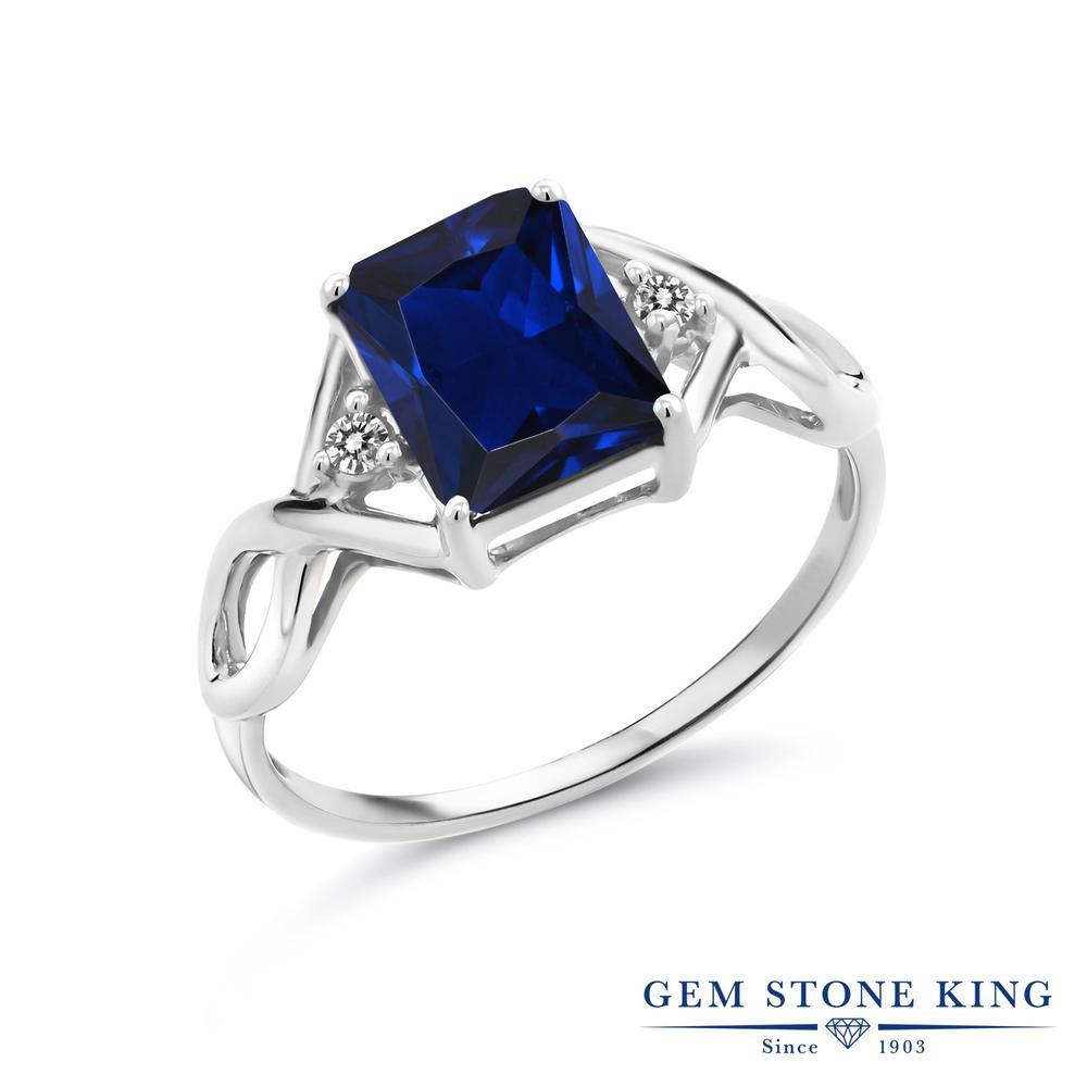 2.73カラット 合成サファイア 指輪 レディース リング 天然 ダイヤモンド シルバー925 ブランド おしゃれ 四角い ツイスト ねじれ 透かし 青 大粒 かっこいい ダブルストーン 金属アレルギー対応