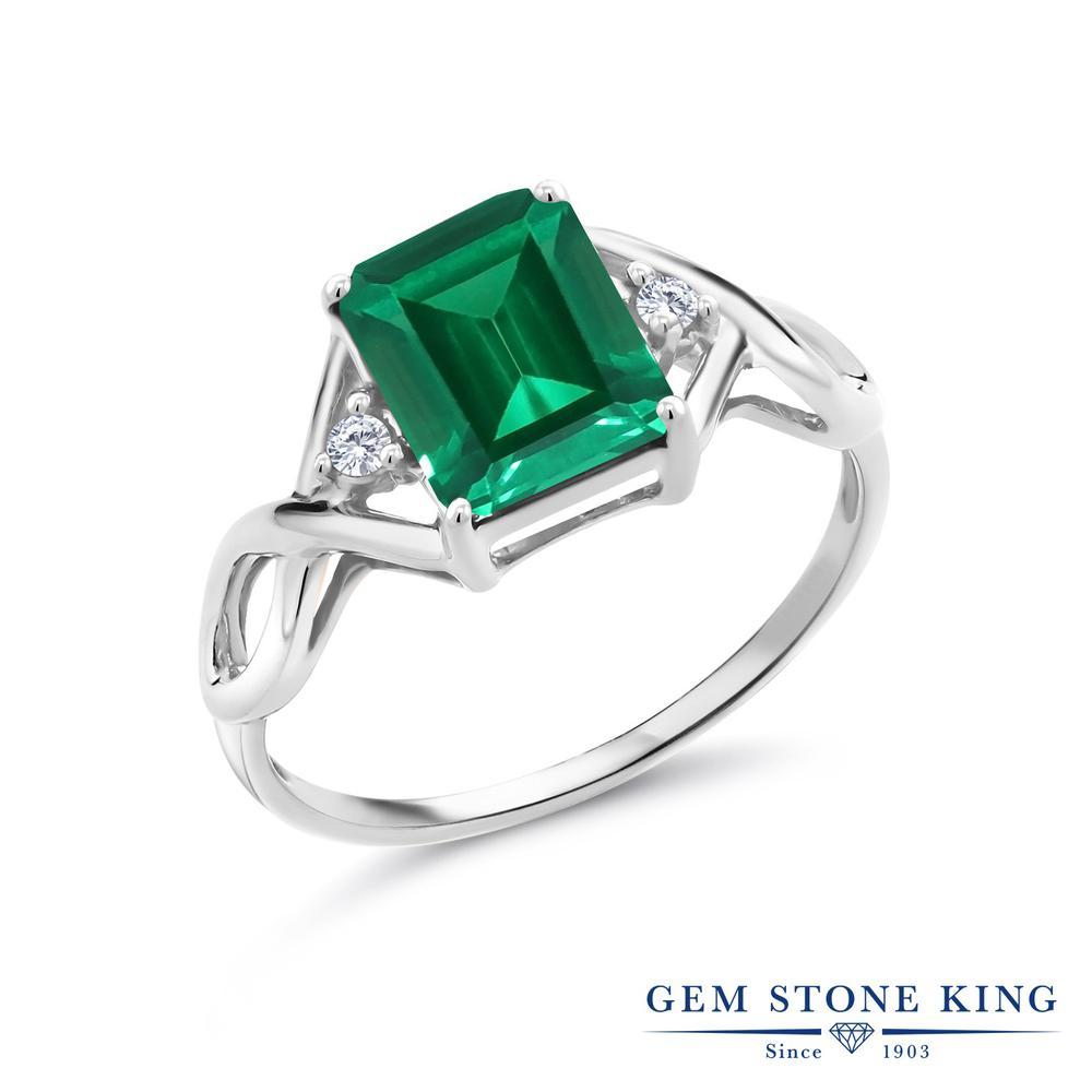 2.03カラット ナノエメラルド 指輪 レディース リング 合成ダイヤモンド シルバー925 ブランド おしゃれ 四角い ツイスト ねじれ 透かし 緑 大粒 かっこいい ダブルストーン 金属アレルギー対応