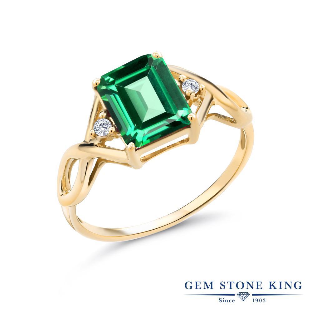 2.68カラット 天然石 トパーズ レインフォレスト (スワロフスキー 天然石) 指輪 レディース リング 合成ダイヤモンド イエローゴールド 加工 シルバー925 ブランド おしゃれ 四角い ツイスト ねじれ 透かし 一粒 緑 大粒 かっこいい ダブルストーン