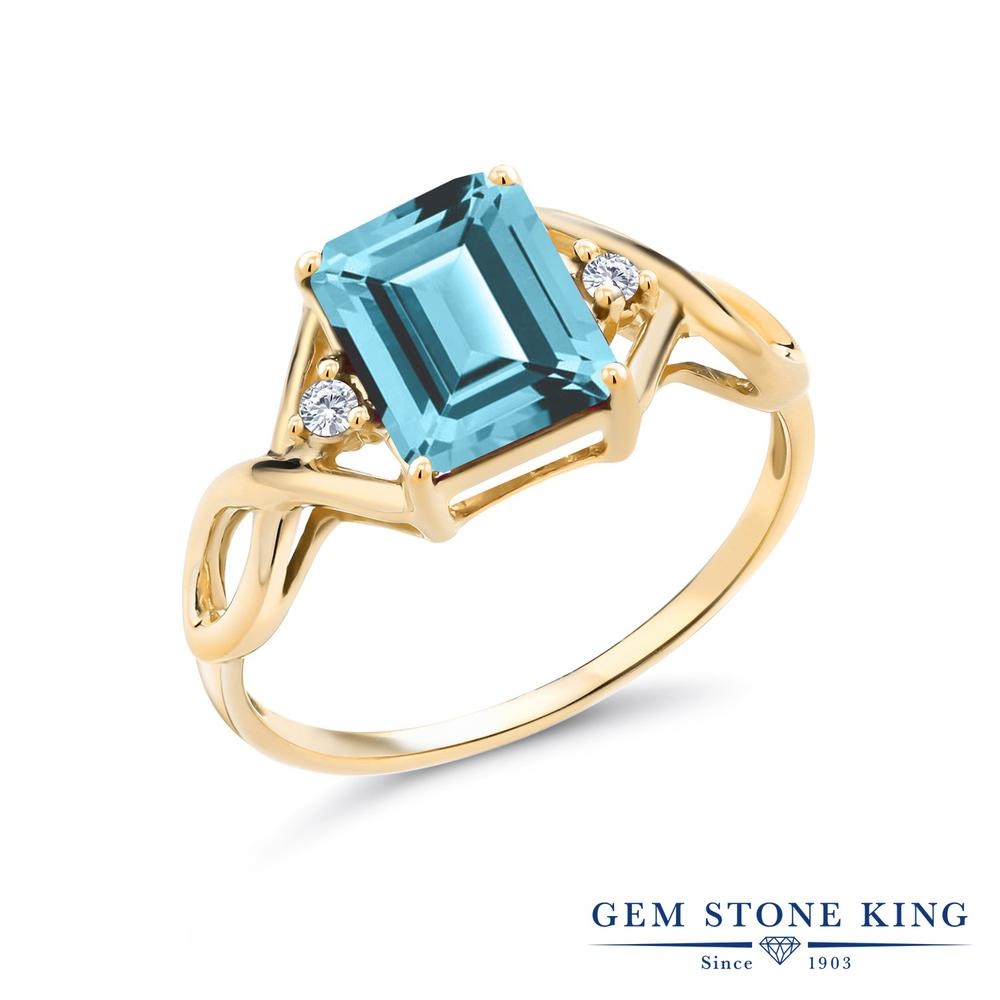 2.68カラット 天然石 アイスブルートパーズ (スワロフスキー 天然石) 指輪 レディース リング 合成ダイヤモンド イエローゴールド 加工 シルバー925 ブランド おしゃれ 四角い ツイスト ねじれ 透かし 一粒 大粒 かっこいい ダブルストーン