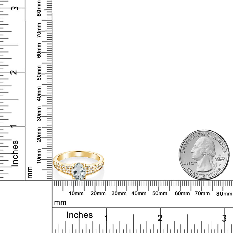 1 68カラット 天然 アクアマリン 指輪 レディース リング イエローゴールド 加工 シルバー925 ブランド おしゃれ オーバル パヴェ 水色 大粒 派手 ダブルストーン 天然石 3月 誕生石 プレゼント 女性 彼女 妻 誕生日EDIH29