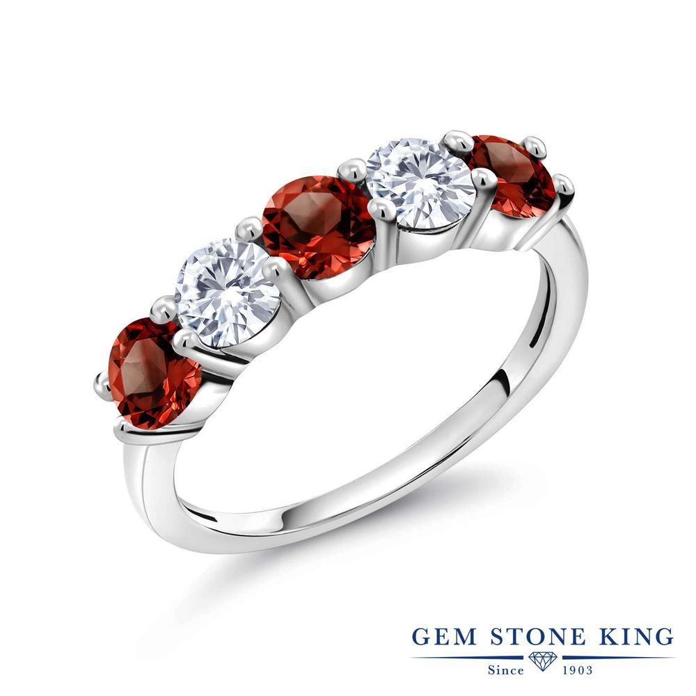 0.94カラット 天然 ガーネット 指輪 レディース リング 合成ダイヤモンド シルバー925 ブランド おしゃれ 5連 赤 小粒 天然石 1月 誕生石 プレゼント 女性 彼女 妻 誕生日