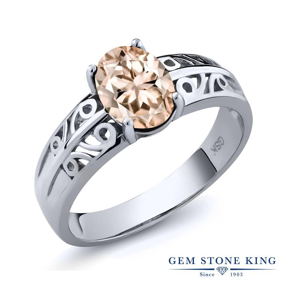 1カラット 天然 モルガナイト (ピーチ) 指輪 レディース リング シルバー925 ブランド おしゃれ アラベスク 透かし 一粒 大粒 ソリティア 天然石 3月 誕生石 プレゼント 女性 彼女 妻 誕生日