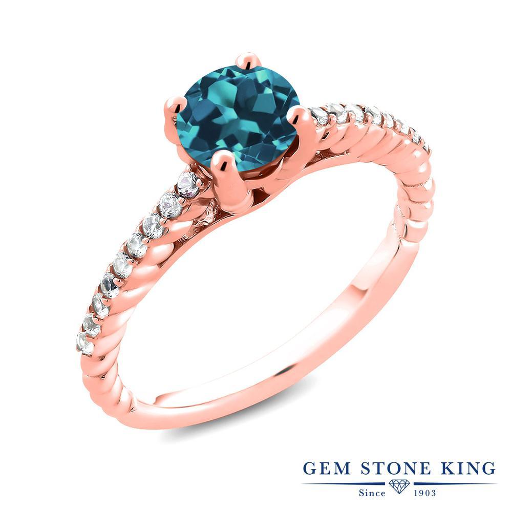 1.88カラット 天然 ロンドンブルートパーズ 指輪 レディース リング 合成ダイヤモンド ピンクゴールド 加工 シルバー925 ブランド おしゃれ ロープ 大粒 細身 ソリティア 天然石 11月 誕生石 婚約指輪 エンゲージリング