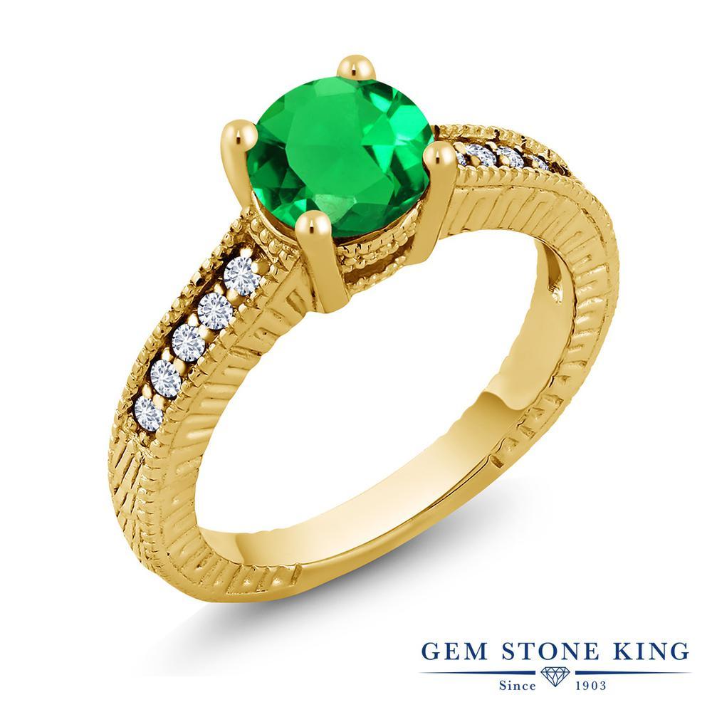 1.37カラット ナノエメラルド 指輪 レディース リング 合成ダイヤモンド イエローゴールド 加工 シルバー925 ブランド おしゃれ 細工 緑 大粒 マルチストーン 金属アレルギー対応