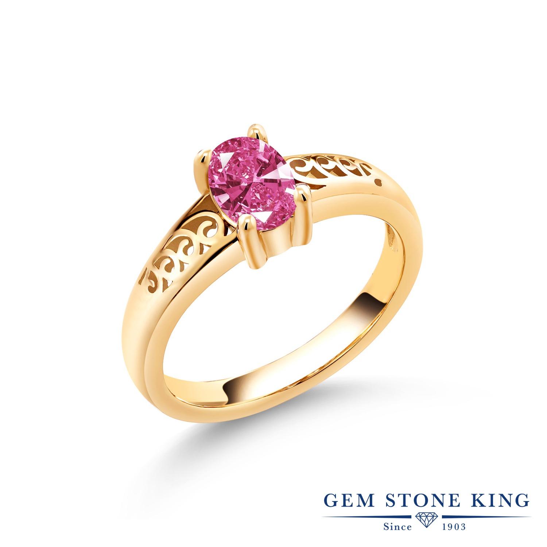 スワロフスキージルコニア (ピンク) 指輪 レディース リング イエローゴールド 加工 シルバー925 ブランド おしゃれ アラベスク 一粒 透かし CZ 金属アレルギー対応