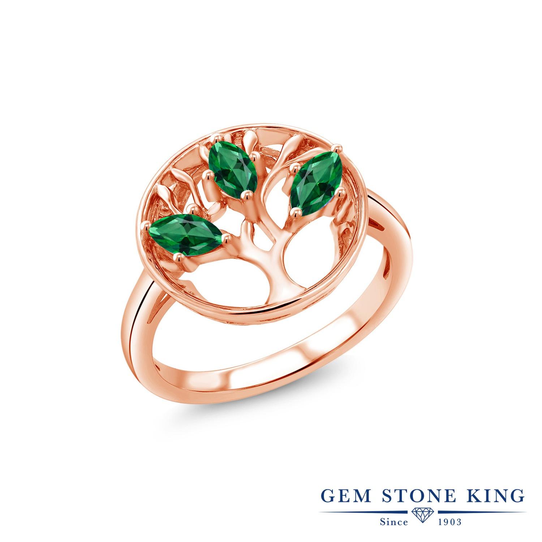 スワロフスキージルコニア (グリーン) 指輪 レディース リング ピンクゴールド 加工 シルバー925 ブランド おしゃれ リーフ サークル CZ 緑 小粒 大ぶり 大きめ スリーストーン 金属アレルギー対応