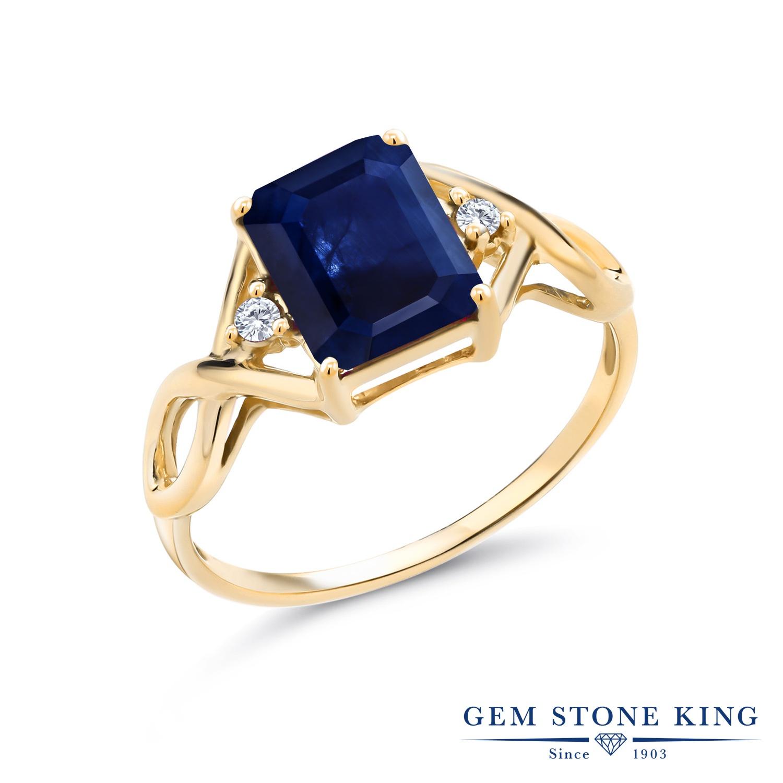 2.48カラット 天然 サファイア 指輪 レディース リング 合成ダイヤモンド イエローゴールド 加工 シルバー925 ブランド おしゃれ 四角い ツイスト ねじれ 透かし 青 大粒 かっこいい ダブルストーン 天然石 9月 誕生石 金属アレルギー対応