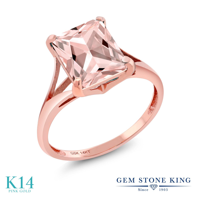 3.2カラット ナノモルガナイト 指輪 レディース リング 14金 ピンクゴールド K14 ブランド おしゃれ 四角い ダブルライン 一粒 大粒 細身 大ぶり 大きめ ソリティア プレゼント 女性 彼女 妻 誕生日
