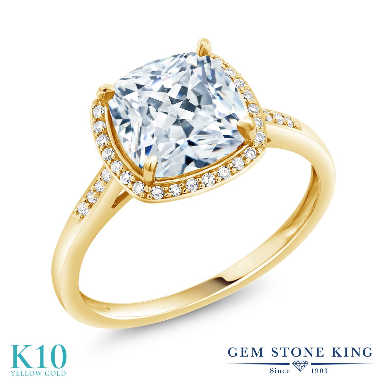 スワロフスキージルコニア 指輪 レディース リング 10金 イエローゴールド K10 ブランド おしゃれ スクエア ヘイロー 一粒 CZ 白 大粒 細身 プレゼント 女性 彼女 妻 誕生日