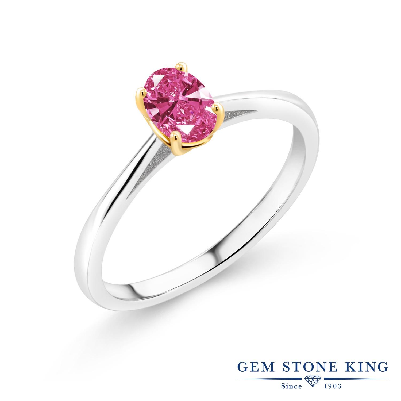 スワロフスキージルコニア (ピンク) 指輪 レディース リング ブランド おしゃれ ソリティア 一粒 オーバル CZ 小粒 金属アレルギー対応
