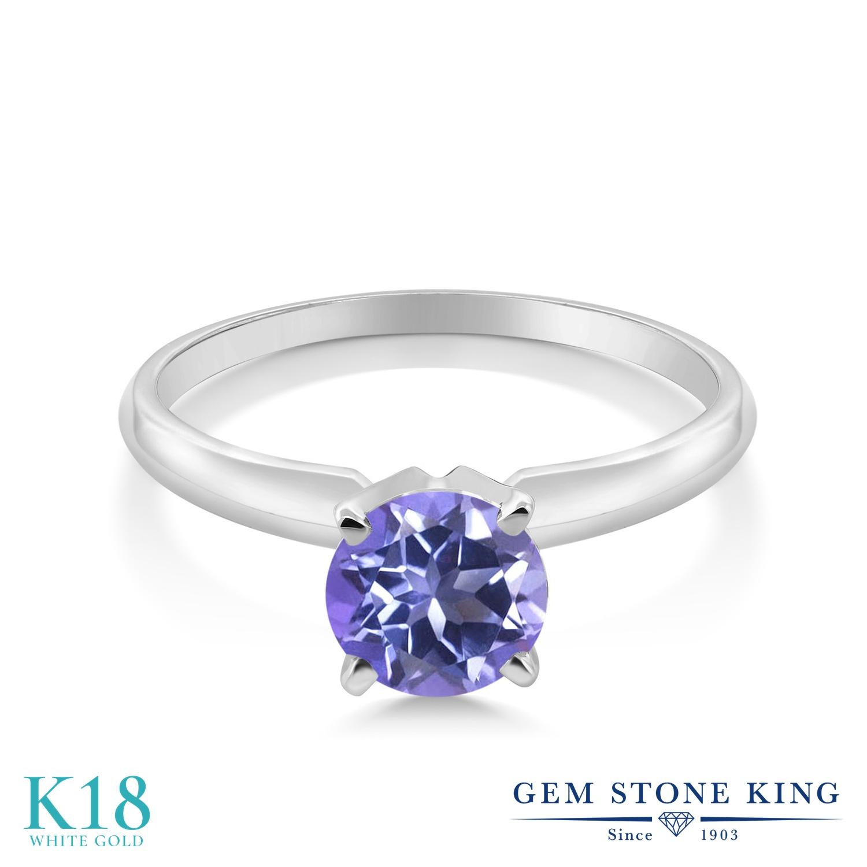 0.65カラット 天然 ミスティックトパーズ (タンザナイトブルー) 指輪 レディース リング 18金 ホワイトゴールド K18 ブランド おしゃれ 一粒 青 シンプル ソリティア 天然石 婚約指輪 エンゲージリング