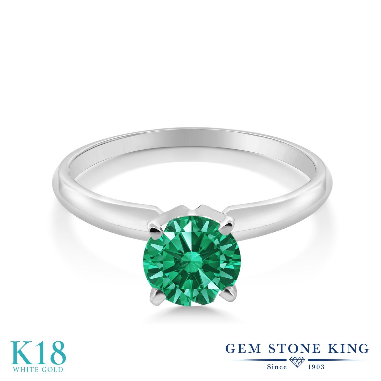 スワロフスキージルコニア (グリーン) 指輪 レディース リング 18金 ホワイトゴールド K18 ブランド おしゃれ 一粒 CZ 緑 小粒 シンプル ソリティア 婚約指輪 エンゲージリング
