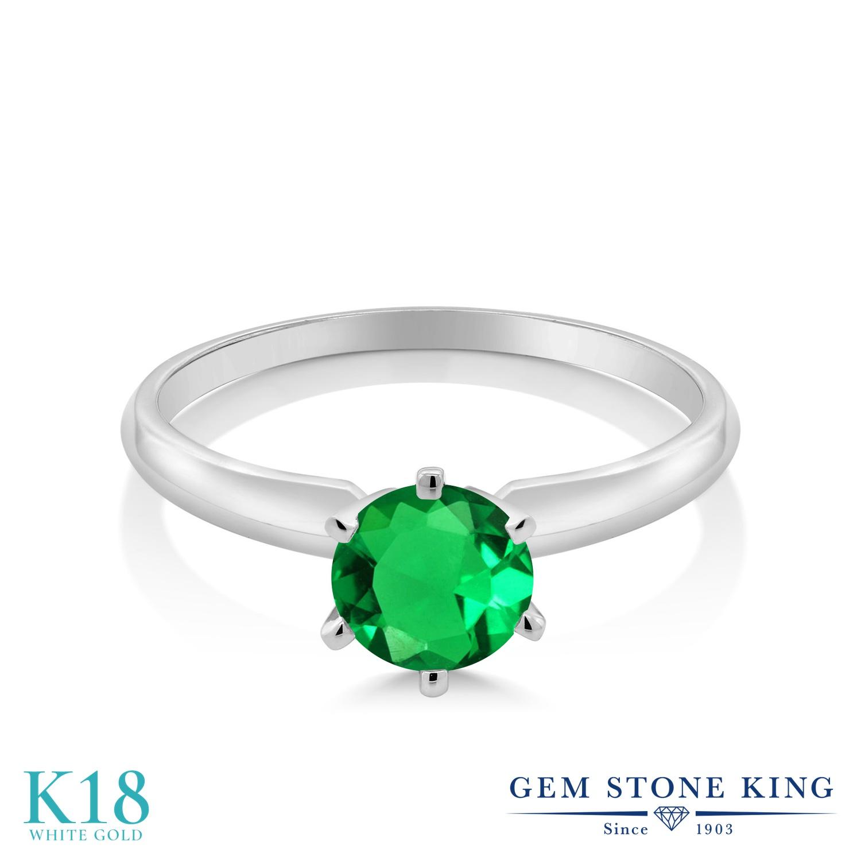 0.77カラット ナノエメラルド 指輪 レディース リング 18金 ホワイトゴールド K18 ブランド おしゃれ 一粒 緑 シンプル ソリティア 婚約指輪 エンゲージリング