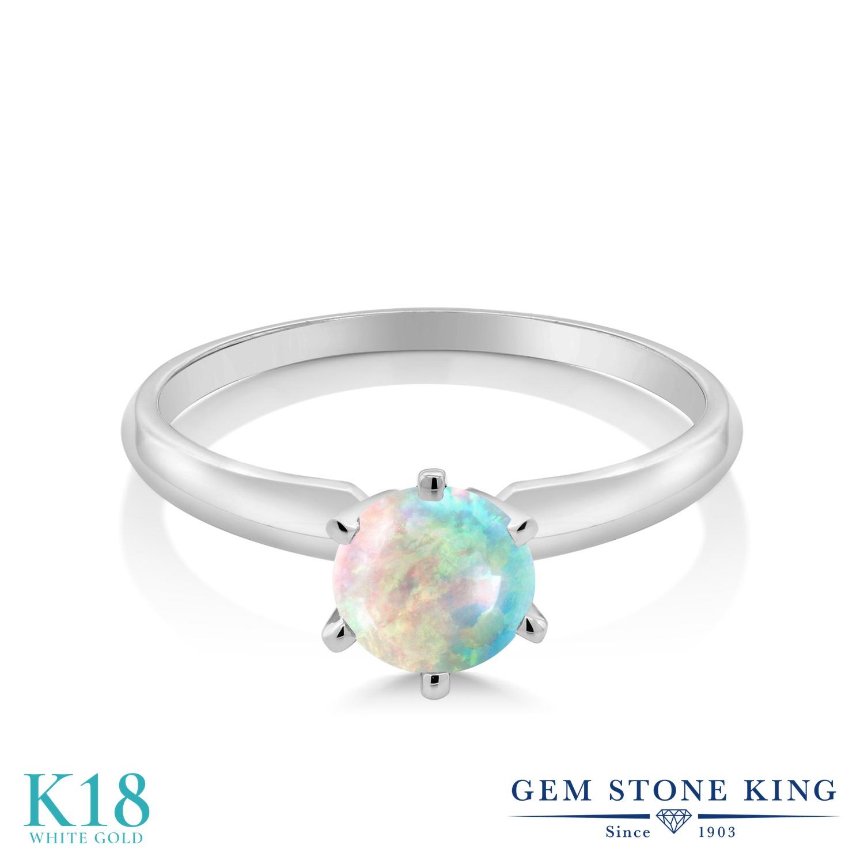 1カラット シミュレイテッド ホワイトオパール 指輪 レディース リング 18金 ホワイトゴールド K18 ブランド おしゃれ 一粒 白 大粒 シンプル ソリティア 10月 誕生石 婚約指輪 エンゲージリング