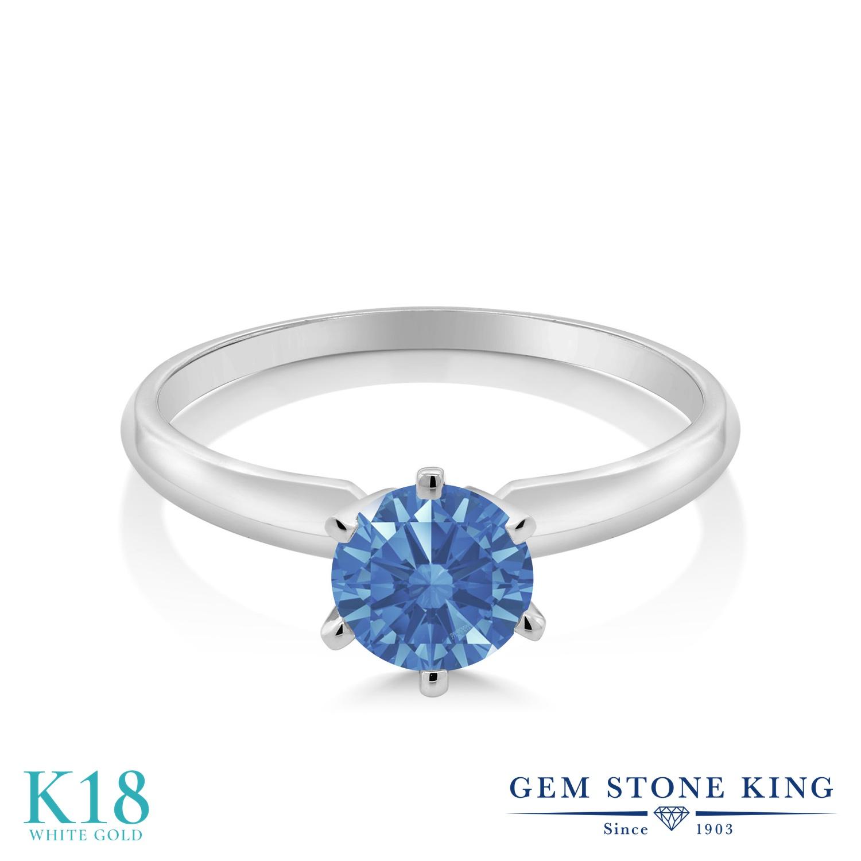 スワロフスキージルコニア (ファンシーブルー) 指輪 レディース リング 18金 ホワイトゴールド K18 ブランド おしゃれ 一粒 CZ 青 シンプル ソリティア 婚約指輪 エンゲージリング