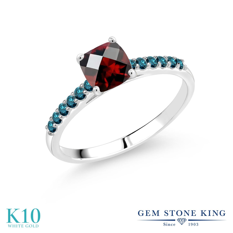 1.16カラット 天然 ガーネット 指輪 レディース リング ブルーダイヤモンド 10金 ホワイトゴールド K10 ブランド おしゃれ 四角い パヴェ 赤 マルチストーン 天然石 1月 誕生石 婚約指輪 エンゲージリング