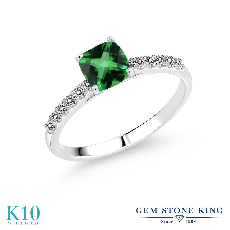 1.2カラット 天然石 トパーズ レインフォレスト (スワロフスキー 天然石) 指輪 レディース リング 天然 ダイヤモンド 10金 ホワイトゴールド K10 ブランド おしゃれ 四角い パヴェ 一粒 緑 大粒 マルチストーン 婚約指輪 エンゲージリング