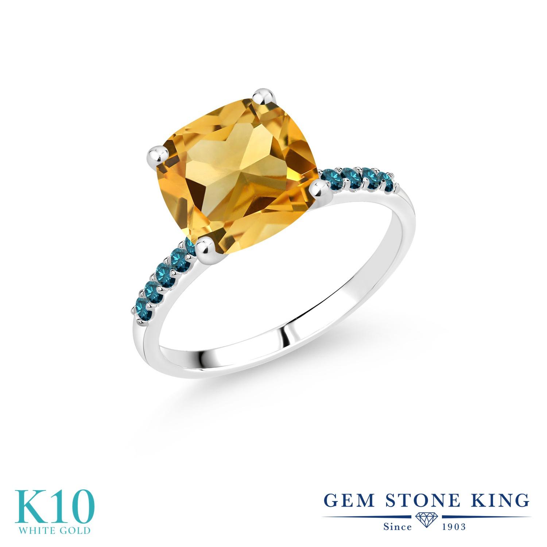 ブランド 天然石 おしゃれ シトリン エンゲージリング K10 天然 ホワイトゴールド マルチストーン ブルーダイヤモンド レディース 11月 指輪 10金 大ぶり パヴェ 黄色 婚約指輪 四角い 誕生石 3.8カラット 大粒 リング 大きめ
