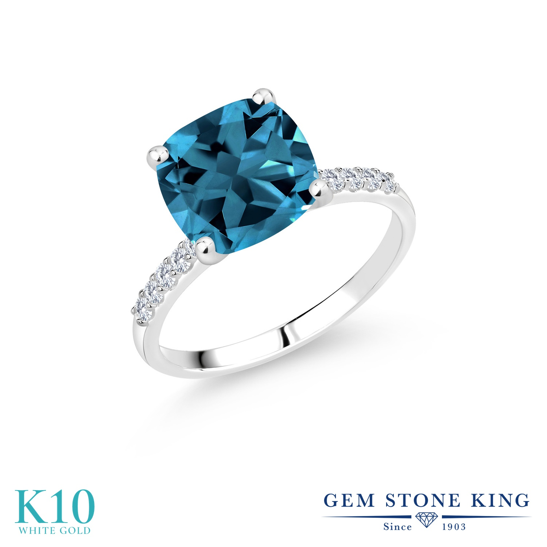 5.38カラット 天然 ロンドンブルートパーズ 指輪 レディース リング 合成ダイヤモンド 10金 ホワイトゴールド K10 ブランド おしゃれ 四角い パヴェ 大粒 大ぶり 大きめ マルチストーン 天然石 11月 誕生石 婚約指輪 エンゲージリング