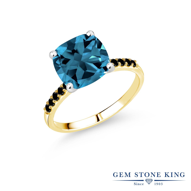 5.4カラット 天然 ロンドンブルートパーズ 指輪 レディース リング ブラックダイヤモンド 10金 Two Toneゴールド K10 ブランド おしゃれ 四角い パヴェ 大粒 大ぶり 大きめ マルチストーン 天然石 11月 誕生石 婚約指輪 エンゲージリング