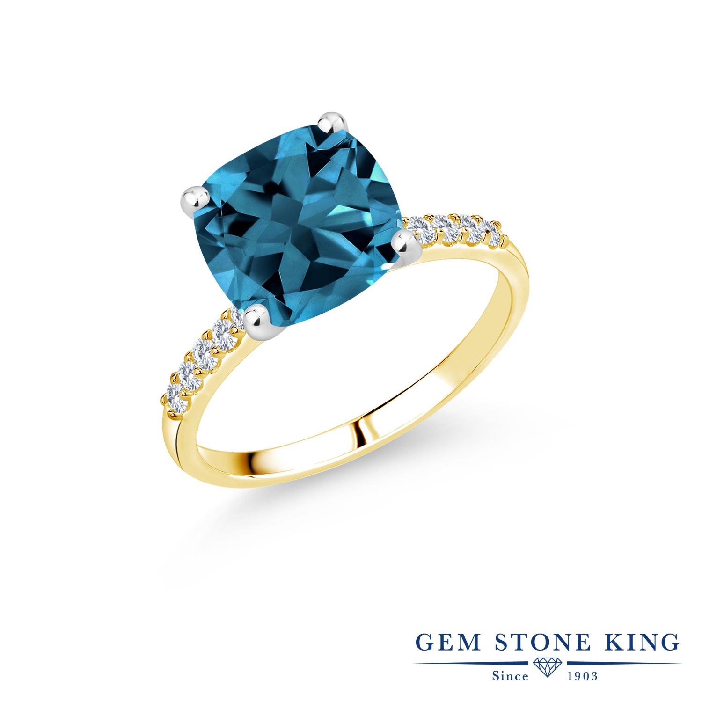 5.38カラット 天然 ロンドンブルートパーズ 指輪 レディース リング 合成ダイヤモンド 10金 Two Toneゴールド K10 ブランド おしゃれ 四角い パヴェ 大粒 大ぶり 大きめ マルチストーン 天然石 11月 誕生石 婚約指輪 エンゲージリング