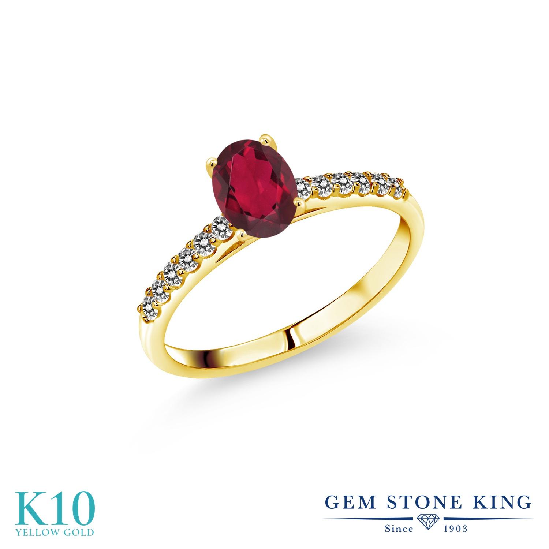 リング 誕生日 1カラット 指輪 レディース 女性 マルチストーン オーバル プレゼント ミスティックトパーズ クリスマスプレゼント 天然 (ルビーレッド) K10 妻 彼女 赤 10金 ブランド イエローゴールド ダイヤモンド おしゃれ パヴェ 天然石