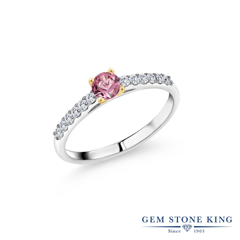 指輪 合成ピンクダイヤモンド 婚約指輪セット ブランド 一粒 パヴェ ダイヤ 0.43カラット おしゃれ リング 華奢 マルチストーン 小粒 エンゲージリング レディース 細身 ピンク
