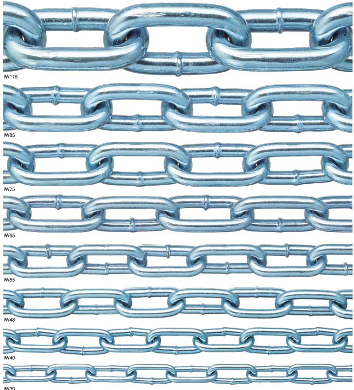 鉄チェーン IW85(表面処理:ユニクロ) 線径8.3mm×30m最も代表的なチェーン。