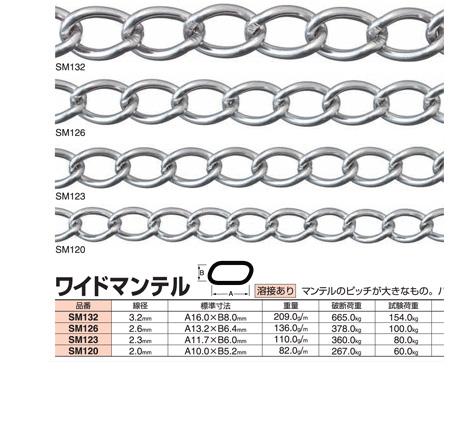ステンレスチェーンワイドマンテル(SM120)線径:2.0mm×長さ30m参考使用荷重:60.0kg