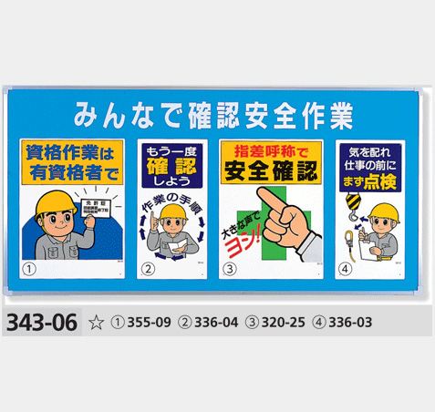 安全標識 ユニパネセット 343-06 みんなで確認安全作業(標識4種) サイズ:900×1800×25mm厚 ※商品はパネルと標識のセット販売になります。