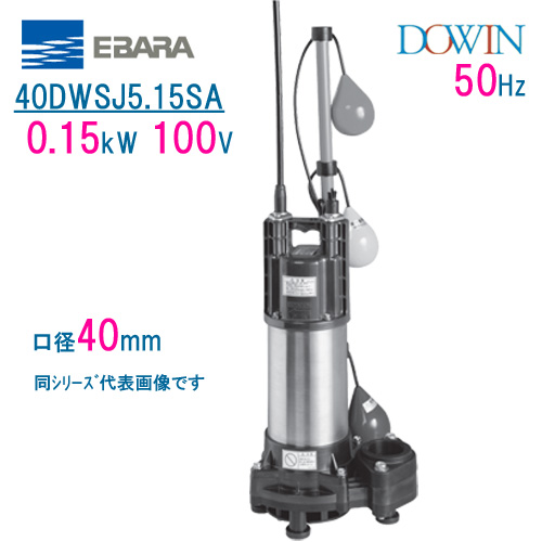 エバラ 樹脂製汚水・雑排水用水中ポンプ 40DWSJ5.15SA 0.15kW 100V 50Hz 口径40mm 自動交互形 フロートスイッチ付 荏原製作所製水中ポンプ EBARA ダーウィン DOWIN