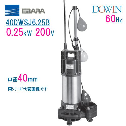 エバラ 樹脂製汚水・雑排水用水中ポンプ 40DWSJ6.25B 0.25kW 200V 60Hz 口径40mm 自動交互形 フロートスイッチ付 荏原製作所製水中ポンプ EBARA ダーウィン DOWIN