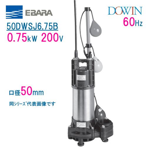 エバラ 樹脂製汚水・雑排水用水中ポンプ 50DWSJ6.75B 0.75kW 200V 60Hz 口径50mm 自動交互形 フロートスイッチ付 荏原製作所製水中ポンプ EBARA ダーウィン DOWIN