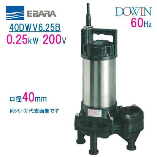 エバラ 樹脂製汚水・汚物用水中ポンプ 40DWV6.25B 0.25kW 200V 60Hz 口径40mm 荏原製作所製水中ポンプ EBARA ダーウィン DOWIN