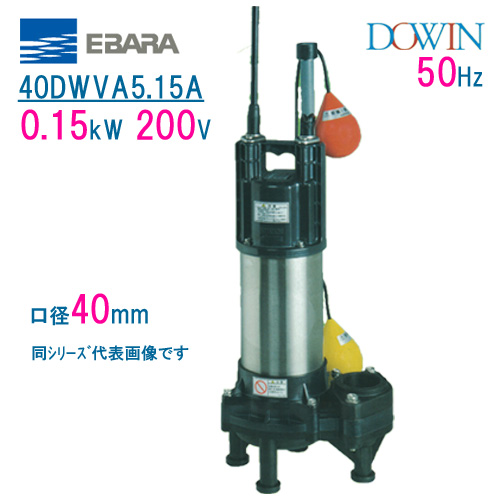 エバラ 樹脂製汚水・汚物用水中ポンプ 40DWVA5.15A 0.15kW 200V 50Hz 口径40mm 自動形 フロートスイッチ付 荏原製作所製水中ポンプ EBARA ダーウィン DOWIN