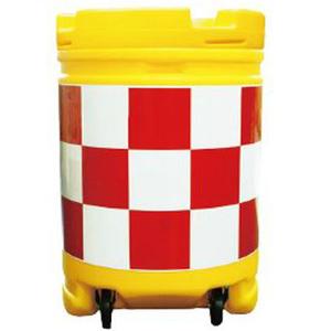 【安全興業】AZクッションドラム コロ付(PE製) AZCK-005【赤白】【プリズム反射】※代引き不可商品※【K】