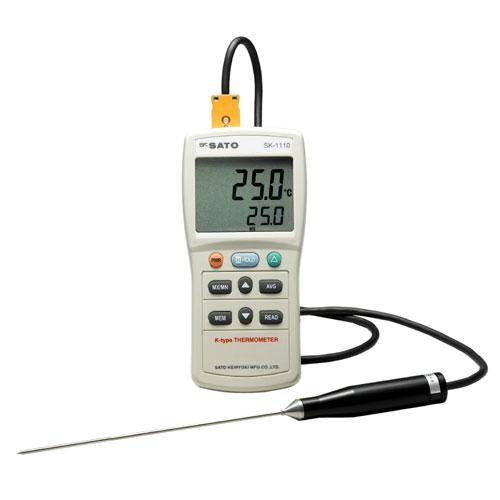 [センサ付きセット] skSATO 佐藤計量器 大型液晶デジタル温度計 SK-1110 1チャンネルタイプ (温度計本体No.8014-03+標準センサSK-K010)セット