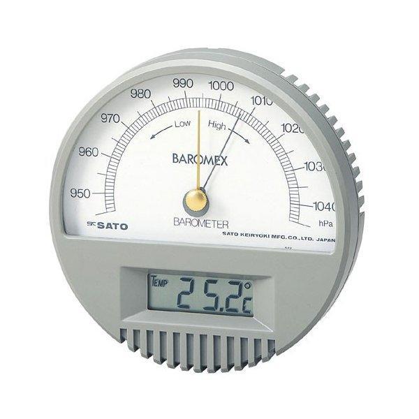 skSATO 佐藤計量器 バロメックス気圧計 No.7612-00 デジタル温度計付き