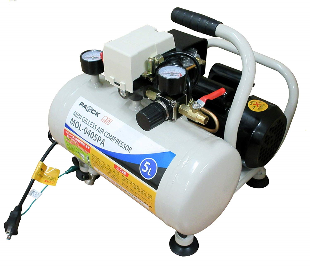 オイルレスなのでメンテナンスが簡単 保証 PAOCK パオック ミニオイルレスエアコンプレッサ MOL-0405PA 最高圧力約0.7MPa 2020 新作 質量10.7kg タンク容量5L