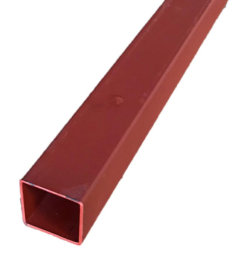 おしゃれ ☆鉄 スチール 角パイプ 様々な用途にどうぞ☆ 鉄 厚さ3.2ミリ×100ミリ×100ミリ ※普通の鉄の四角いパイプです 長さ1m ご容赦下さい 重さ約9.5kg 送料0円 赤塗装 ※材質状錆が浮いている場合がありますが