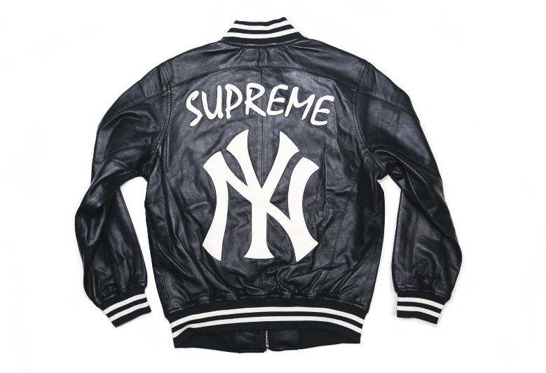 Supreme(シュプリーム)×'47 BRAND/NEW YORK YANKEES LEATHER VARSITY JACKET[NAVY]2015SS レザージャケット 新古品【中古】