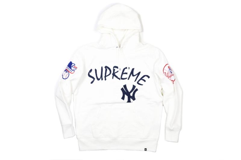 Supreme(シュプリーム)×'47 BRAND/NEW YORK YANKEES HOODED SWEATSHIRT[WHITE] 2015SS メンズ パーカー 新古品【中古】
