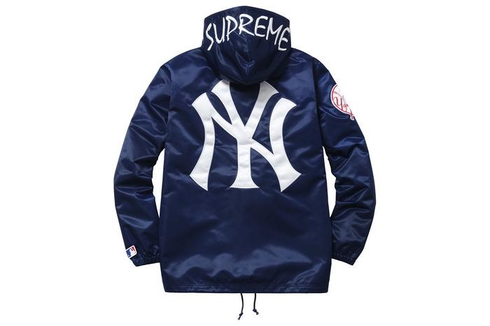 Supreme(シュプリーム)×'47 BRAND/NEW YORK YANKEES SATIN HOODED COACHES JKT[NAVY]15SS コーチジャケット 新古品【中古】