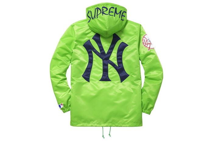 Supreme(シュプリーム)×'47 BRAND/NEW YORK YANKEES SATIN HOODED COACHES JKT[GREEN]15SS コーチジャケット 新古品【中古】