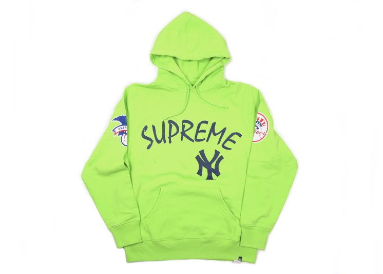 Supreme(シュプリーム)×'47 BRAND/NEW YORK YANKEES HOODED SWEATSHIRT[green] 2015SS メンズ パーカー 新古品【中古】