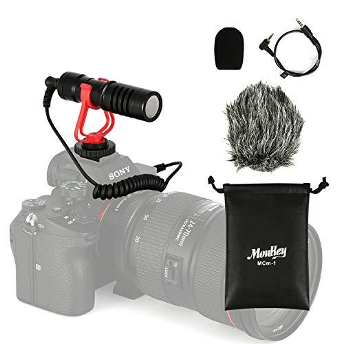 Moukey DSLR 半額 カメラマイク 外付けマイク 新品未使用 モニターヘッドホン接続 IP4防水ケース付 コンデンサー型 ミニ三脚 3.5mm変換ケ 単一指向性
