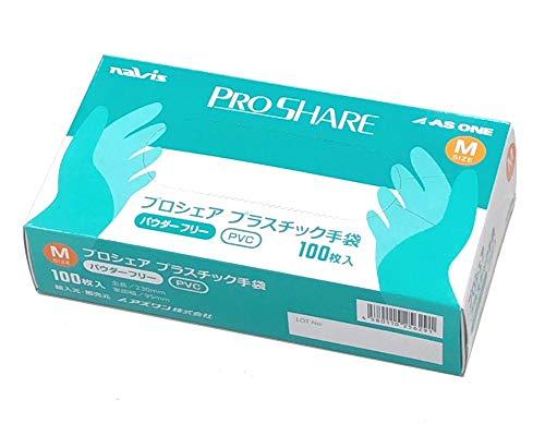 ナビス プロシェア 使い捨て プラスチック手袋 パウダー無 100枚入 新作 人気 M 1箱 1年保証 8-9569-02