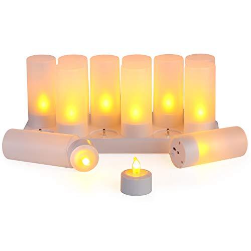 LEDキャンドルライト 充電式キャンドルライト 在庫一掃 12個セット 屋内屋外 飾りクリスマスツリー スパ ホ 上品 誕生日 結婚式 パーティーホリデー